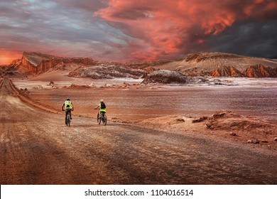 bikers in atacama desert chile
