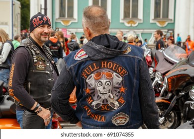 Bikers from different countries communicate on St.Petersburg Harley days August 5, 2017 in St. Petersburg, Russia