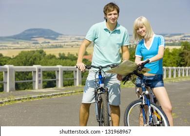 bikers holding a map, Czech Republic