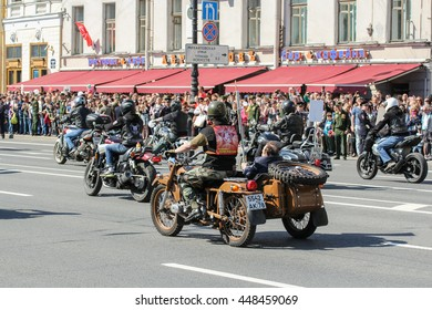 "Bikers on different bikes. St. Petersburg, Russia - 9 May, 2016. Memory Action ""Immortal regiment"" in St. Petersburg."
