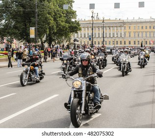Bikers on motorcycles. St. Petersburg, Russia - 13 August, 2016. The annual parade of Harley Davidson in the squares and streets of St. Petersburg.