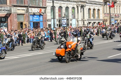 "Bikers on the road. St. Petersburg, Russia - 9 May, 2016. Memory Action ""Immortal regiment"" in St. Petersburg."