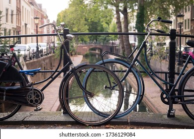 Bikes next to the canal in Utrecht, Netherlands, september 2019