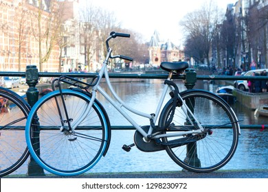 Bikes on the bridge in Amsterdam.