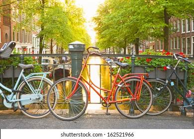 Bikes on the bridge in Amsterdam Netherlands