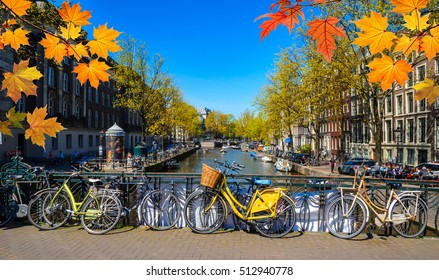 Bikes on the bridge in  Amsterdam, Netherlands. Canals of Amster