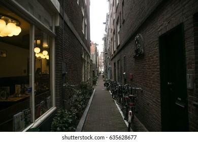 bikes on the street, Amsterdam city centre