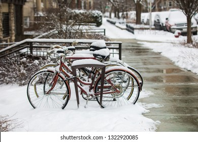 bikes over snow