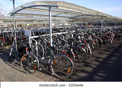 Bikes in a parking lot