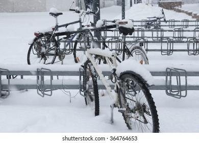 Bikes parking under the snow in Helsinki, Finland