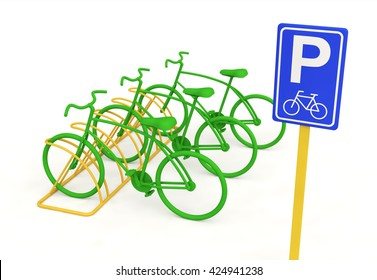 Bikes Theme Elements, Street Speed Sport Bicycles At a Parking Place, Illustration - 3d Render