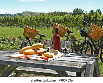 Bikes in vineyard, New Zealand
