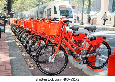 Biketown rack at Pioneer square across the MAX stop on SW Morrison. Portland, OR, 9/12/2016.