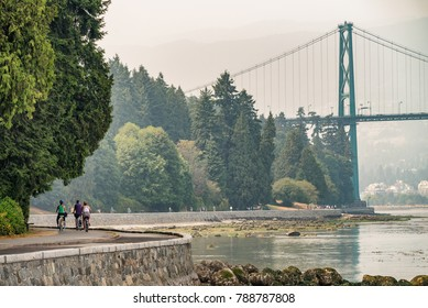 Biking along Stanley Park in Vancouver, Canada.