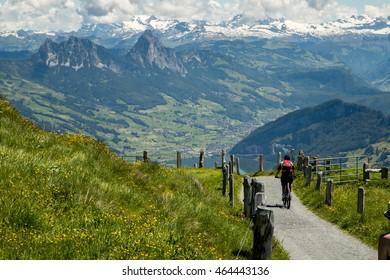 Biking at Mt. Rigi, Switzerland