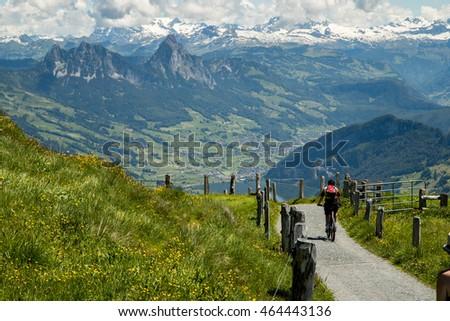 biking mt rigi switzerland stock photo edit now 464443136