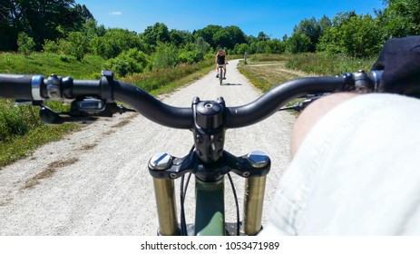 biking on a trail