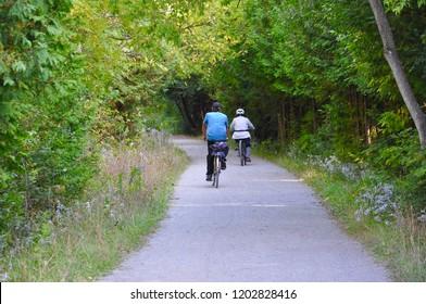 Biking on the trail