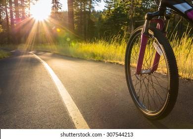 Biking at sunset.