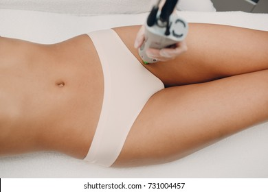 Bikini Laser epilation and cosmetology. Hair removal cosmetology procedure. Laser epilation and cosmetology. Cosmetology and SPA concept.