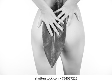 Bikini Line and Public Hair Removal Concept, Brazilian Waxing Salon and Spa, Naked Woman in Good Shape Cover her butt with a leaf