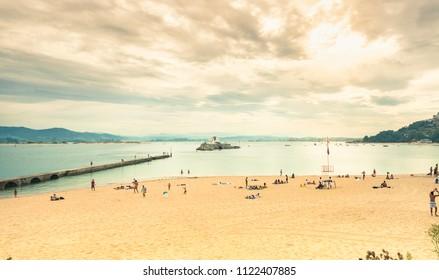 Bikinis beach in front of Santander Bay, in Cantabria, Spain