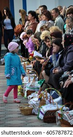 Bila - Chortkiv - Ternopil - Ukraine - April 30, 2016. Blessing of Easter baskets with traditional celebratory Ukrainian dishes at the church in the village of Bila.