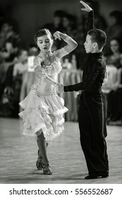 Bila Tserkva, Ukraine. February 22, 2013 International open dance sport competition Stars of Ukraine 2013. Ballroom dancing children. Black and white photography