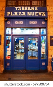 Bilbao, 28/01/2017: the sign of Taverna Plaza Nueva, one of the most ancient and typical taverns and restaurants under the arches of Plaza Nueva, the most famous square of Casco Viejo, the Old City