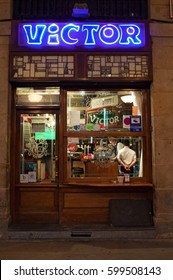 Bilbao, 28/01/2017: the sign of Victor, one of the most ancient, typical and traditional taverns and restaurants under the arches of Plaza Nueva, the most famous square of Casco Viejo, the Old City