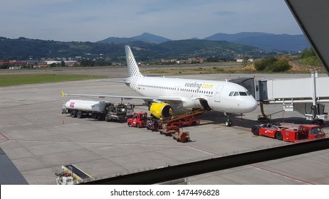 Bilbao Airport, Bilbao, Basque Country, Spain, August, 6, 2019: Vueling plane at Bilbao airport