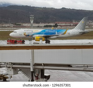 Bilbao, Basque Country, Spain, January, 22, 2019: Vueling airplane painted with a Eurodisney campaign.