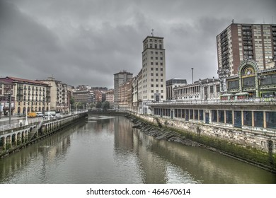 Bilbao, Basque Country, Spain, July 6, 2016: Nervion river banks. July 6, 2016 in Bilbao.