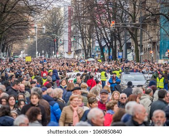 Bilbao, Basque Country, Spain, March, 17, 2018, mass demonstration and protest of pensioners and retirees in Bilbao