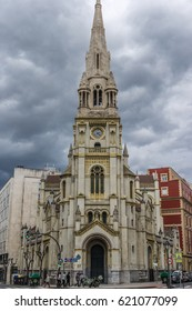 Bilbao, Basque Country, Spain. March 26, 2017. San Jose Church. Neo-Romanesque Style, built by Jose Maria Basterra.