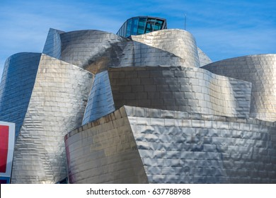 Bilbao, Basque Country, Spain. March 26, 2017.: Facade of Guggenheim Museum. The building is clad in glass, titanium and limestone, designed by Frank Gehry.