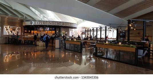 Bilbao, Bizkaia, Basque Country, Euskadi, Spain, March, 12, 2019: Dutyfree and restaurants in the boarding area of the Bilbao airport
