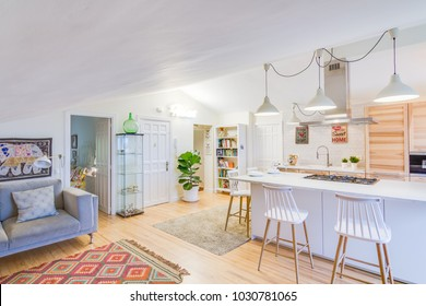 BILBAO, EUSKADI, SPAIN JANUARY 16 2018: Cozy nordic scandinavian bright and clean open kitchen with a minimalist interior design inside an apartment in the basque country, spain