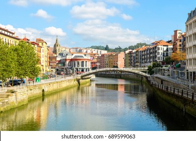 Bilbao old town view on sunny day, Spain