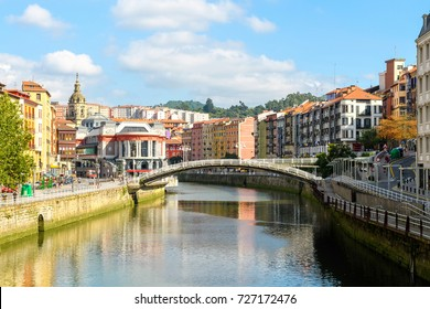 Bilbao old town views on sunny day, Spain