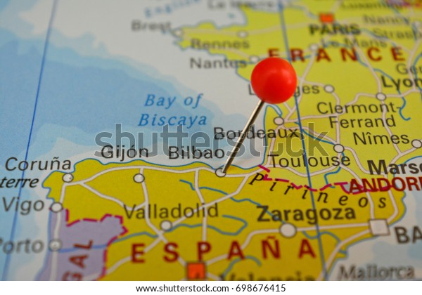 Bilbao On Map Of Spain.Bilbao Pinned On Map Spain Stock Photo Edit Now 698676415