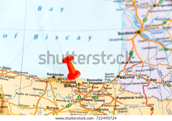 Bilbao On Map Of Spain.Bilbao Pinned On Map Spain Stock Photo Edit Now 722490724
