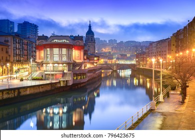 bilbao riverbank at morning, spain