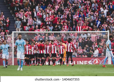 Bilbao, Spain. 06th May, 2019. Pais Vasco. San Mamés. Liga santander. Athletic Bilbao v RC Celta de Vigo: Athletic Bilbao players in a goal celebration.