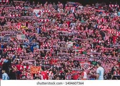 Bilbao, Spain. 06th May, 2019. Pais Vasco. San Mamés. Liga santander. Athletic Bilbao v RC Celta de Vigo: Athletic Bilbao supporters showing their  scarves.