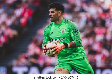 Bilbao, Spain. 06th May, 2019. Pais Vasco. San Mamés. Liga santander. Athletic Bilbao v RC Celta de Vigo: Iago Herrerín (#13) catch the ball during the game.