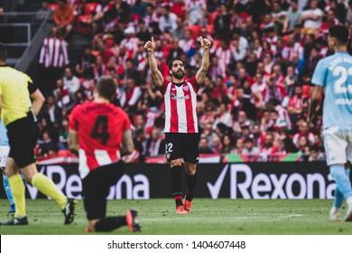 Bilbao, Spain. 06th May, 2019. Pais Vasco. San Mamés. Liga santander. Athletic Bilbao v RC Celta de Vigo: Raul García (#22) raises his arms during the game.