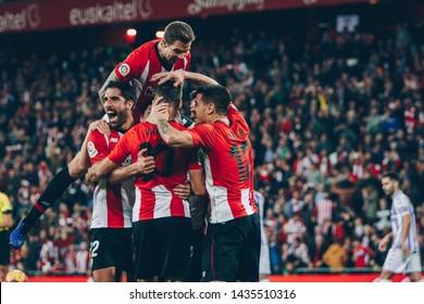 Bilbao, Spain. 06th May, 2019. Pais Vasco. San Mamés. Liga santander. Athletic Bilbao v Real Valladolid CF: Athletic Bilbao players celebrating a goal.