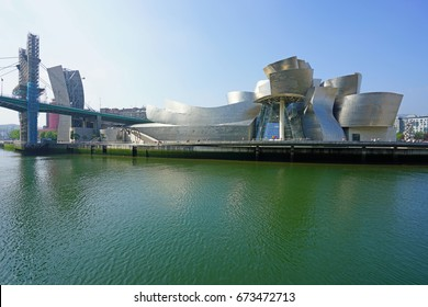 BILBAO, SPAIN -11 JUN 2017- Exterior view of the Guggenheim Museum Bilbao, a modern and contemporary art museum designed by famous architect Frank Gehry in Bilbao, Basque Country, Spain.