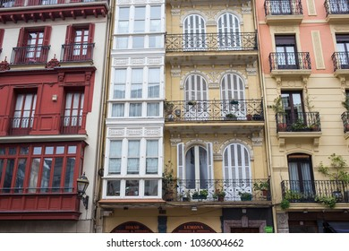 BILBAO, SPAIN - 14 FEBRUARY: Facade in the old town of Bilbao at the Catholic church. 14 FEBRUARY 2018